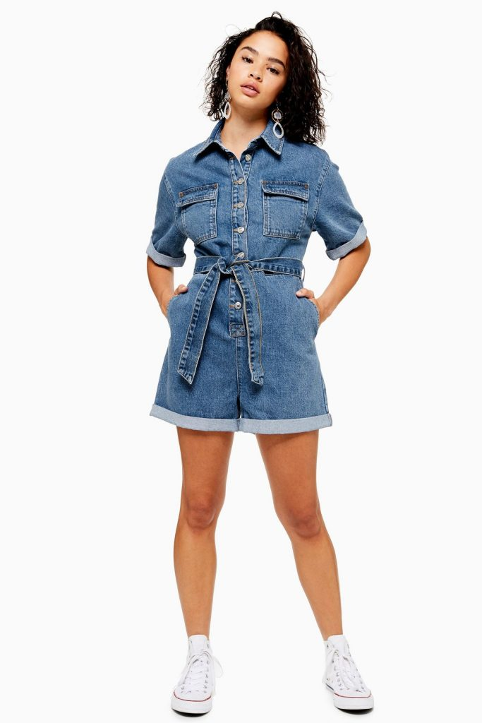 Petite Denim Button Playsuit